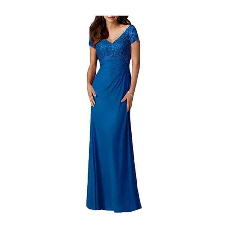 V-Neck Beaded Chiffon Gown by FOLOBE