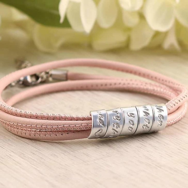 CHAMPAGNE ROSE LEATHER ANNIVERSARY BRACELET FOR HER by Jaeedesign