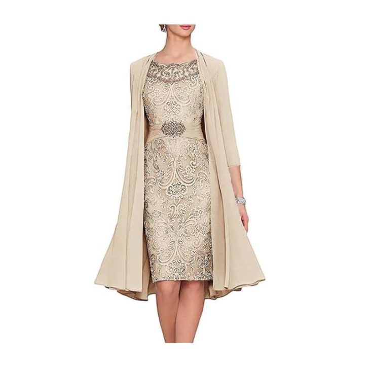 Tea-Length-Dress-with-Flowing-Jacket