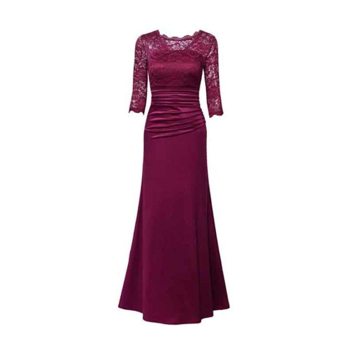 Floral Lace Vintage Slim Ruched Dress by Miusol