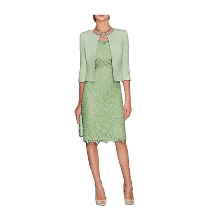 Tea Length Half Sleeve Dress with Jacket by HIDRESS