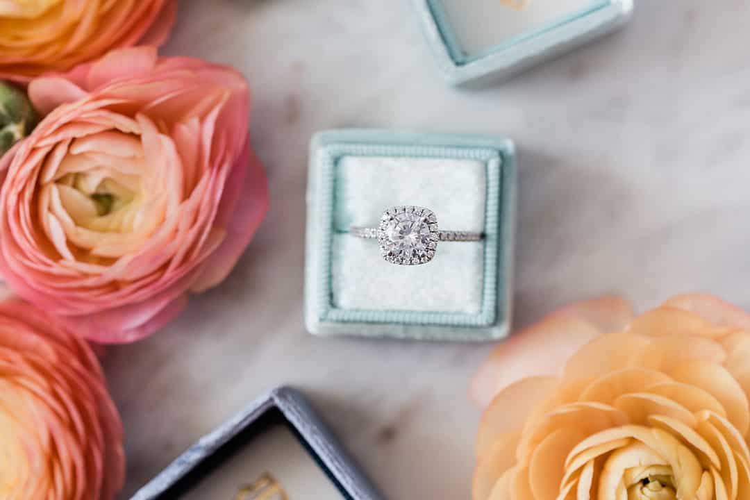 man-made diamond engagement ring