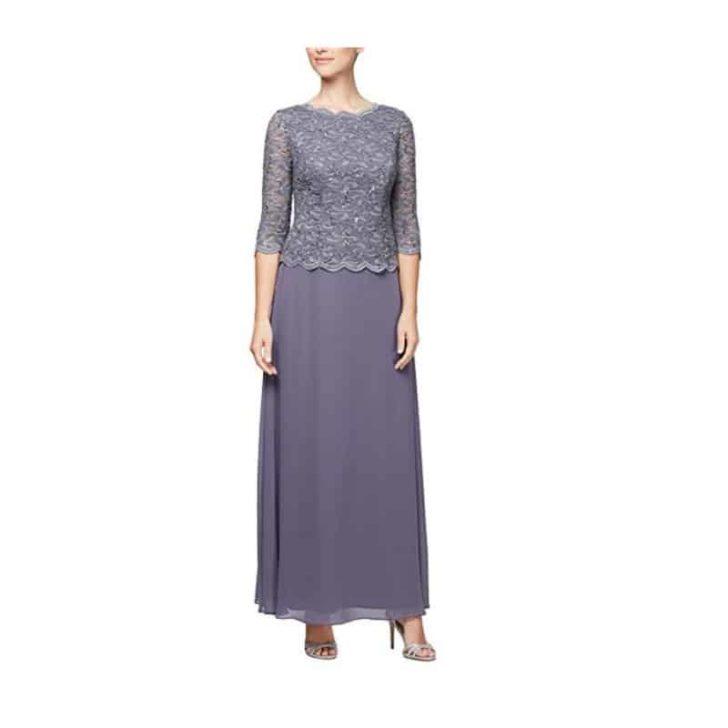 Long Sequin Lace Mock Dress by Alex Evenings