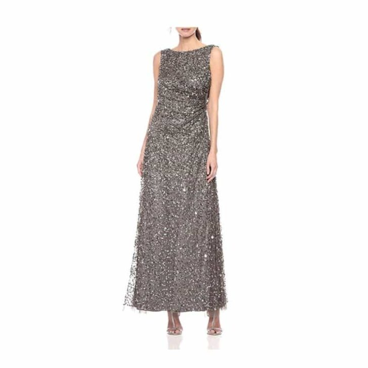 Cowl Back Beaded Long Gown by Adrianna Papell