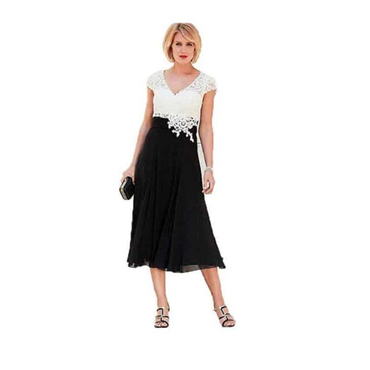 V-Neck Short Sleeve Tea Length Gown