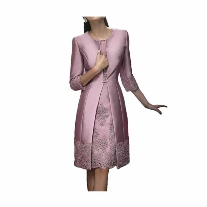 Satin Appliqued Dress with Jacket by Blevla