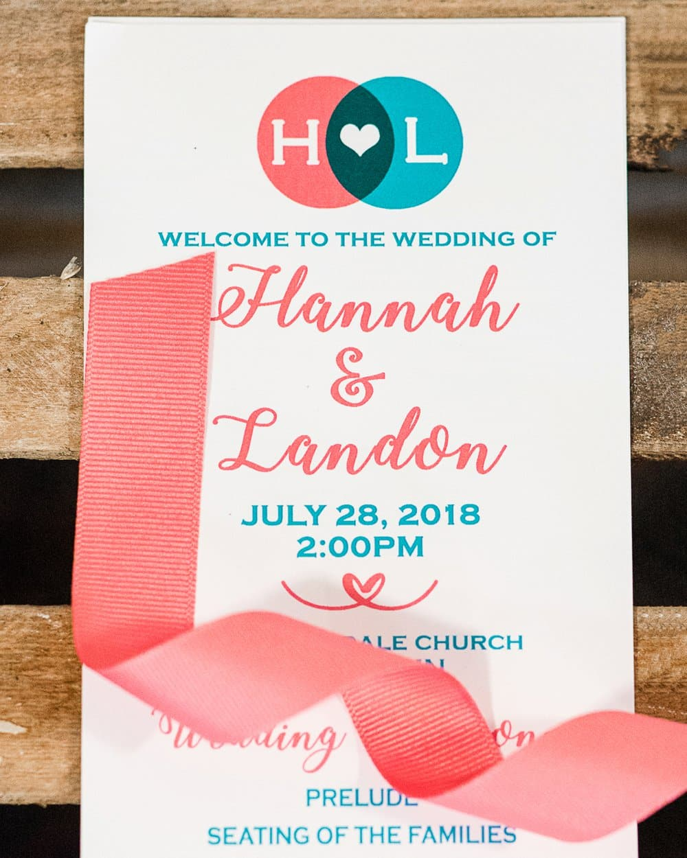 coral and blue wedding invitation