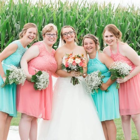 Coral and Blue Country Church Wedding