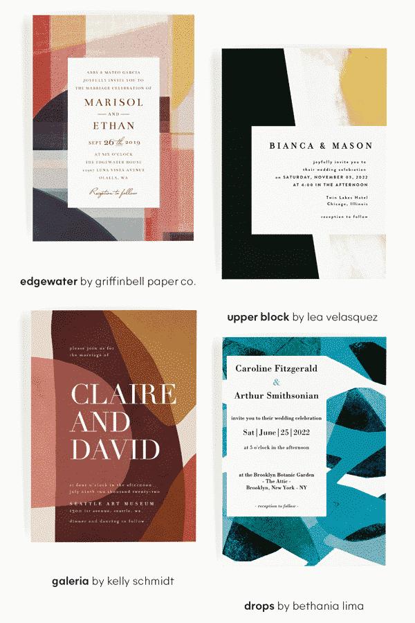 Minted Wedding Invitations - Wedding Design Trends - Colorblocking