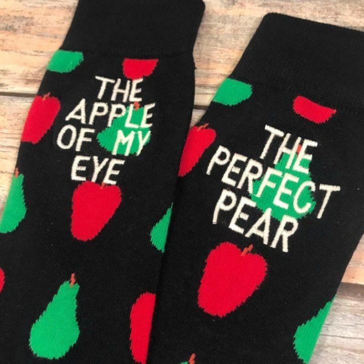 fourth anniversary gift four year anniversary gift embroidered socks mens dress socks fruit Anniversary Socks husband gift