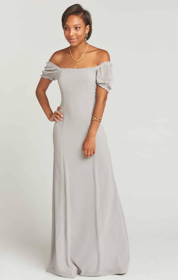 Brittany Maxi Dress Dove Grey Chiffon Show Me Your MuMu