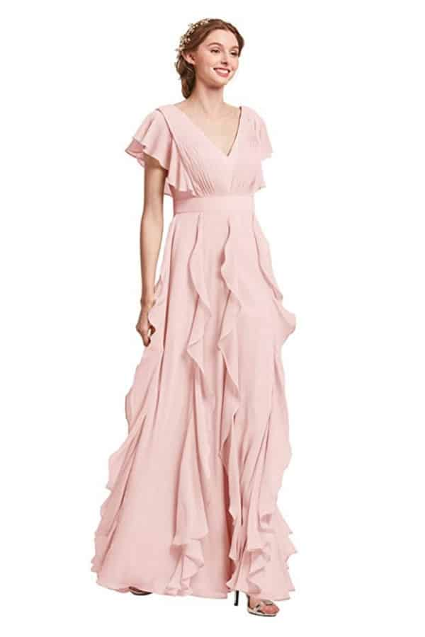 Chiffon Ruffled Dress With Sleeves By AW