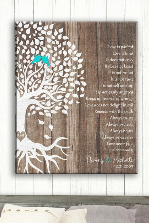5th Wedding Anniversary Gift Idea - Wooden Bible Verse Print on Etsy
