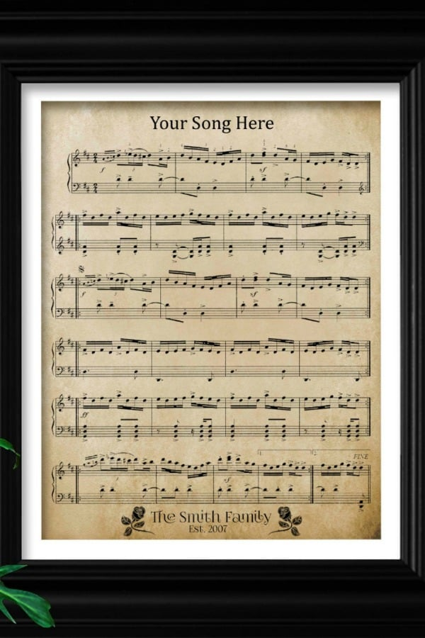 5th Wedding Anniversary Gift Idea - Custom sheet music in wood frame on Etsy