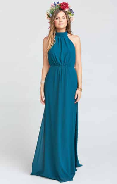 Collette Collar Dress - Deep Jade Chiffon Show Me Your MuMu