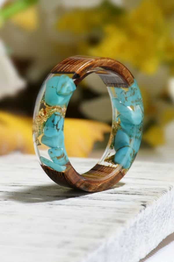 5th Wedding Anniversary Gift Idea - Wood and Turquoise Resin Ring for her on Etsy
