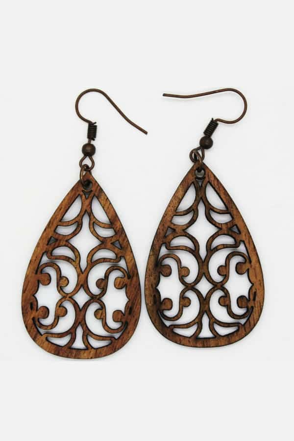 Wooden Teardrop Earrings - 5th Wedding Anniversary Gift Idea on Etsy