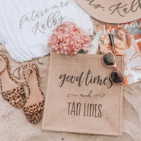 Lucky Maiden Good Times and Tan Lines Burlap Tote Bag