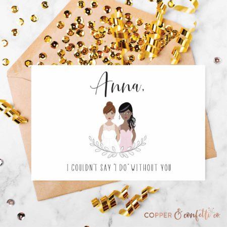 Custom Illustrated Bridesmaid Proposal Card