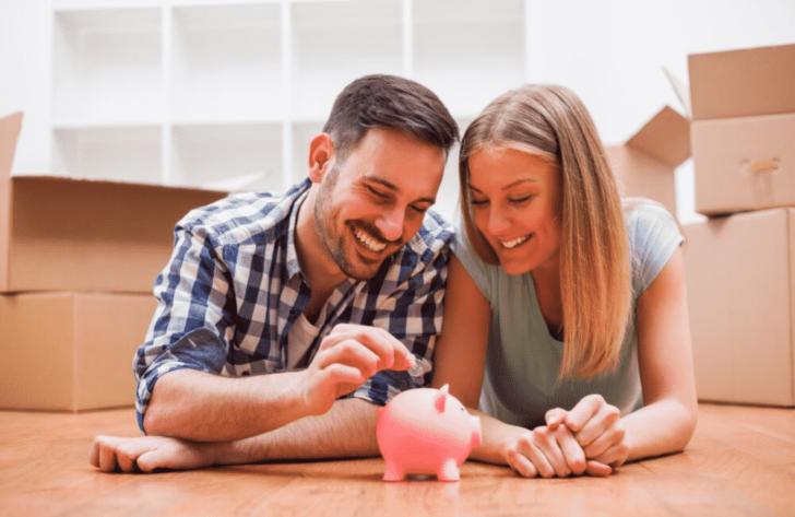engaged couple saving money for wedding