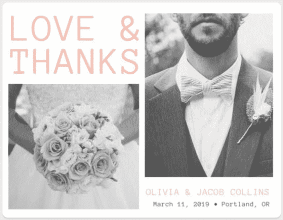"""They"" say nothing is free. We beg the differ. Our list of wedding freebies will get you free wedding stuff with just the click of your mouse, including this Love and Thanks Card from Canva."