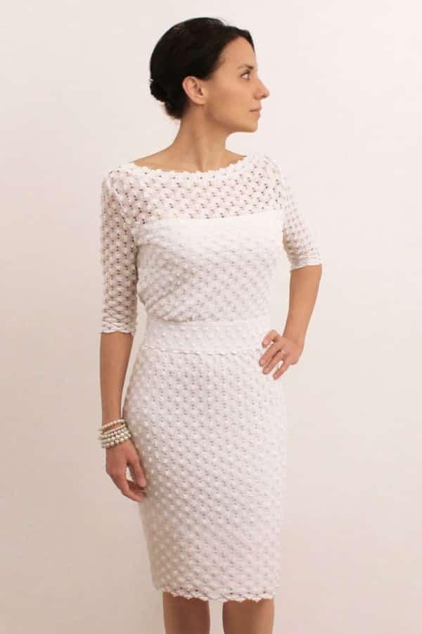 ELEGANT WHITE BOATNECK PENCIL DRESS By Anaoiss