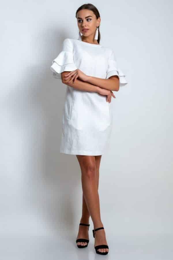 FLARED-SLEEVE WHITE LINEN DRESS By LovelyLinenStudio