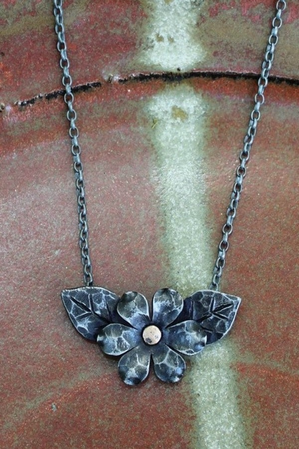 FORGED IRON FLOWER NECKLACE By NancyFeDesigns