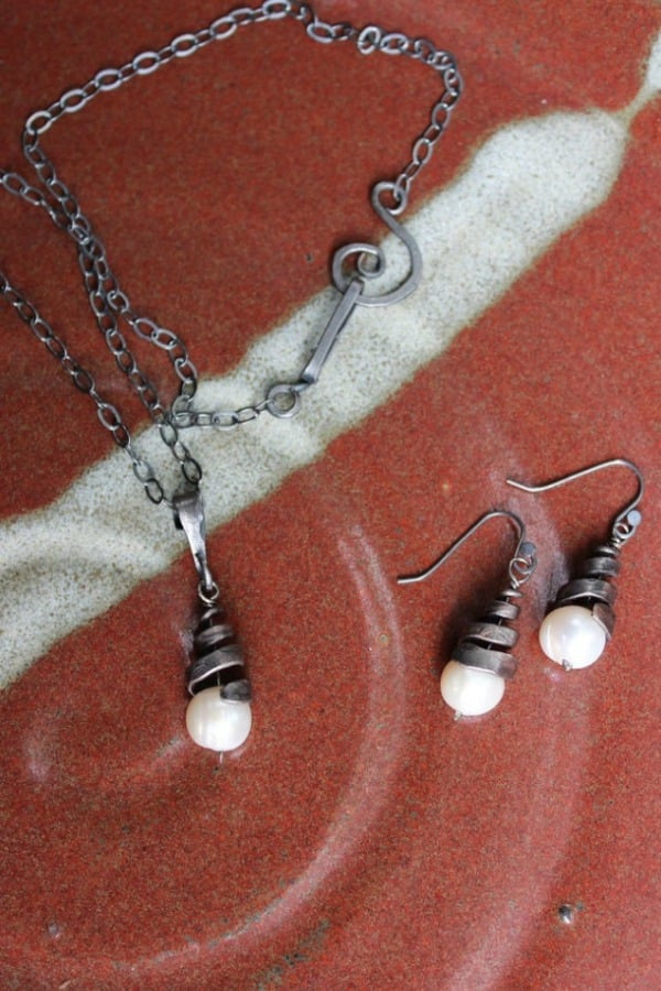 FORGED IRON SPIRAL NECKLACE AND EARRING SET By NancyFeDesigns