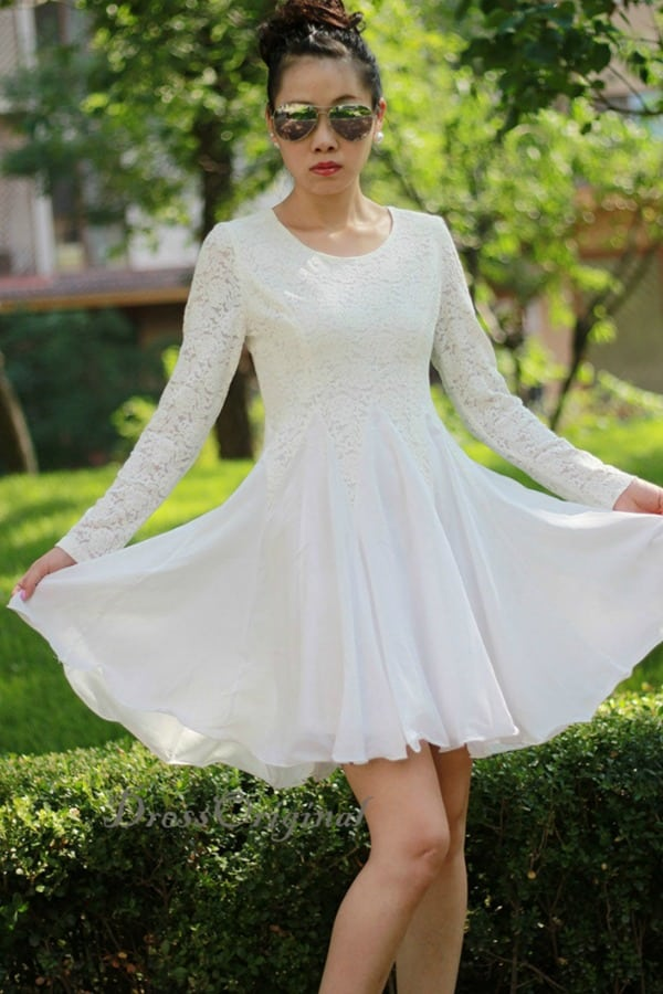 LACE LONG SLEEVED FIT AND FLARE DRESS By DressOriginal