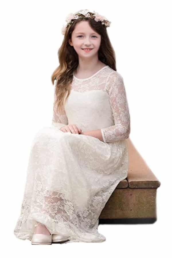 LACE LONG SLEEVED FLOWER GIRL DRESS By CQDY