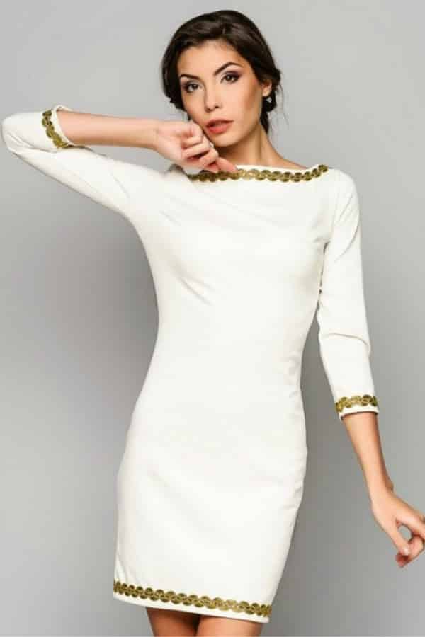 LONG SLEEVED WHITE CASUAL DRESS By Annaclothing