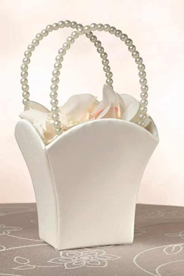 PEARL HANDLE FLOWER BASKET By Lillian Rose