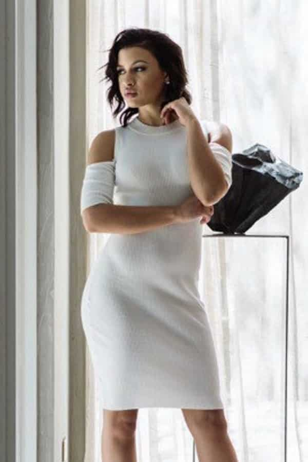 RIBBED IVORY COLD SHOULDER MIDI DRESS By AnaGCouture