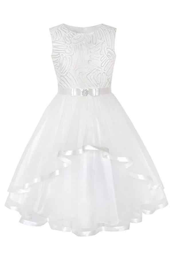 SATIN AND TULLE BELTED FLOWER GIRL DRESS By Sunny Fashion