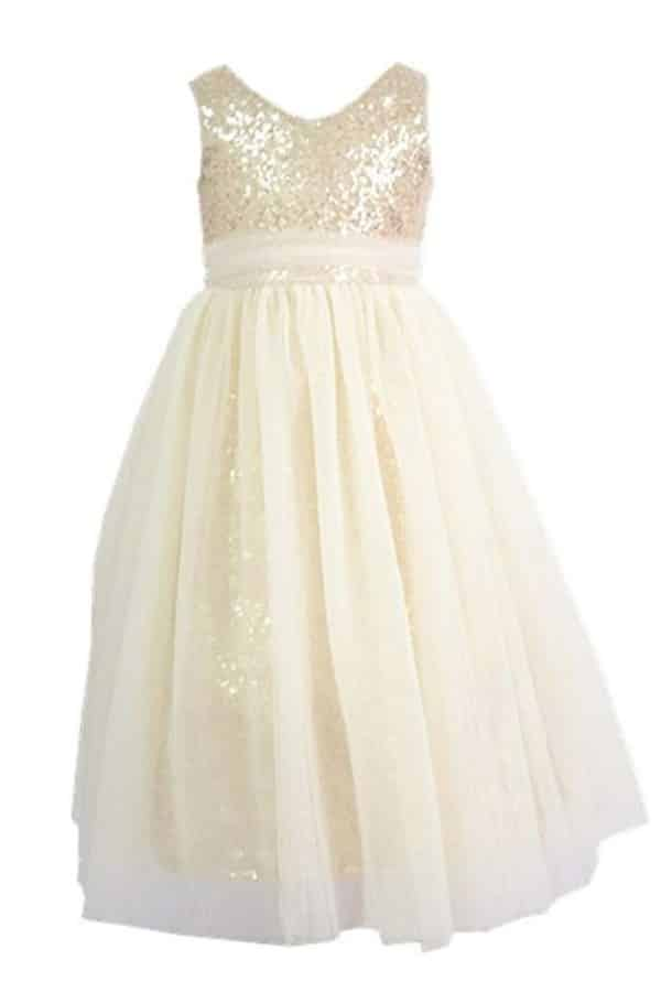 SEQUINED BODICE AND TULLE FLOWER GIRL DRESS By Bow Dreams