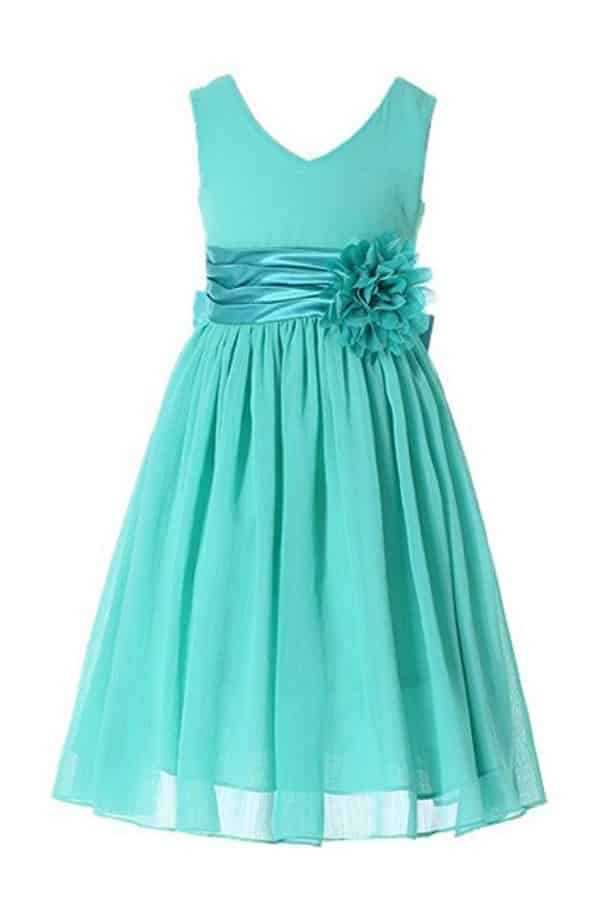 V-NECKLINE CHIFFON FLOWER GIRL DRESS By Bow Dream