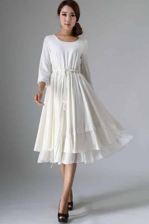 WHITE MIDI GATHERED DRESS By xiaolizi