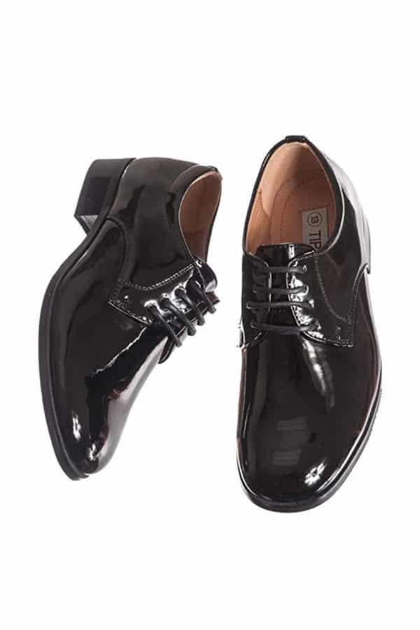 Boys Shiny Black Tuxedo Shoe By Lito