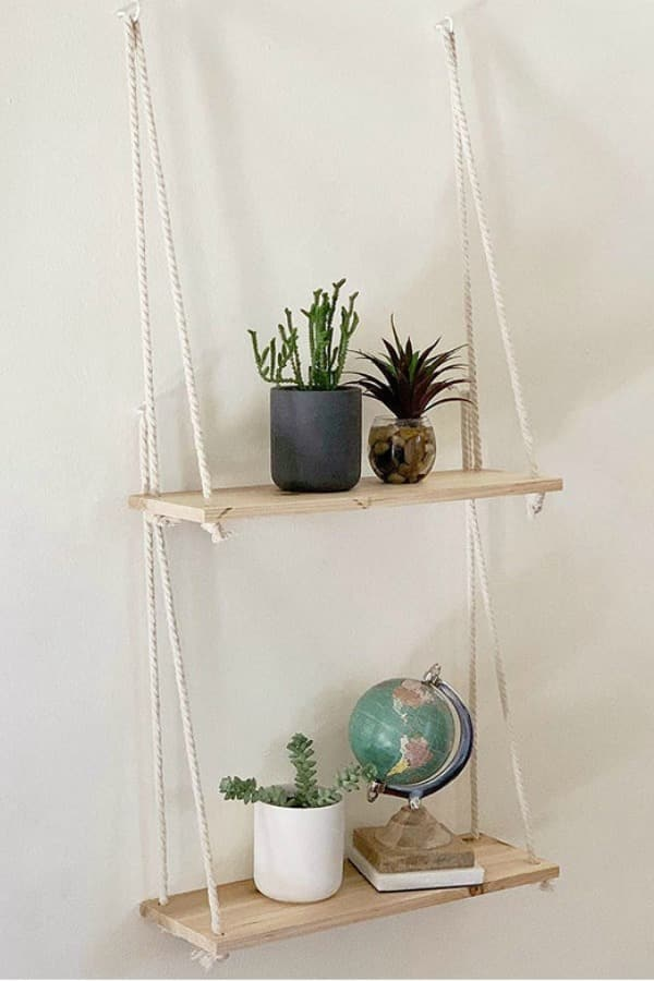 Distressed Wood Hanging Shelves with Hooks By BASEROOTS | Seventh Anniversary Gifts - gift ideas for your 7th wedding anniversary