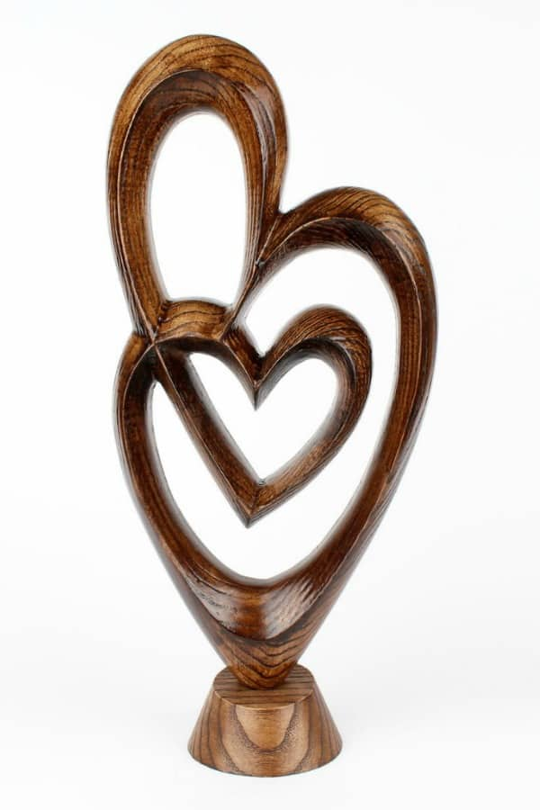 Double Heart Sculpture By WoodSoulCarving | Seventh Anniversary Gifts - gift ideas for your 7th wedding anniversary