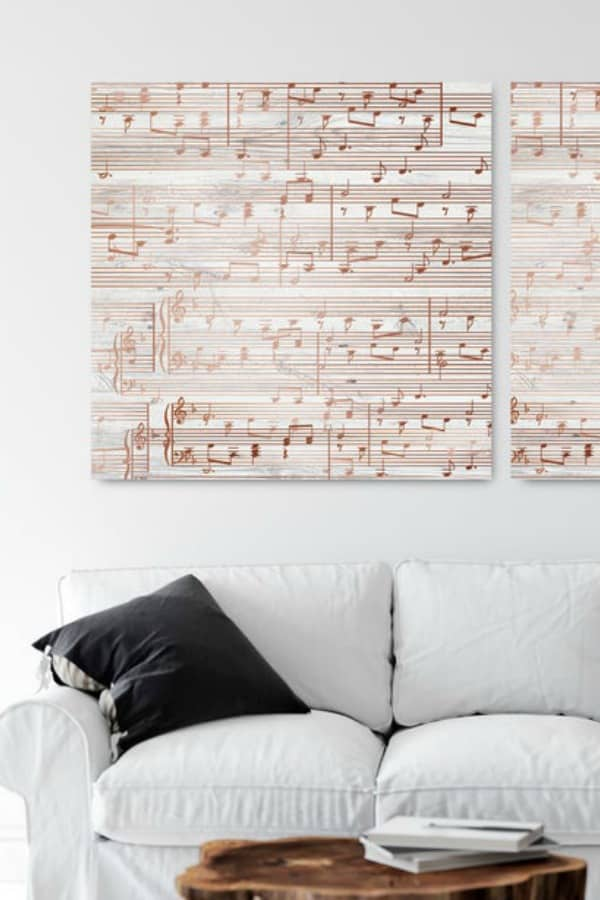 Personalized Sheet Music Art In Copper By CanvasVows | Seventh Anniversary Gifts - gift ideas for your 7th wedding anniversary