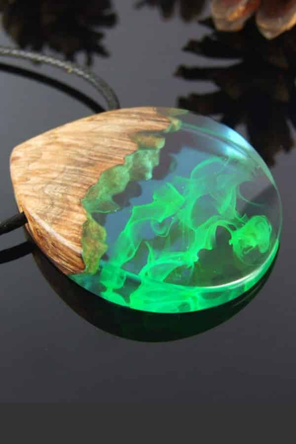 Resin And Wood Aurora Borealis Necklace By trinwoodart | Seventh Anniversary Gifts - gift ideas for your 7th wedding anniversary