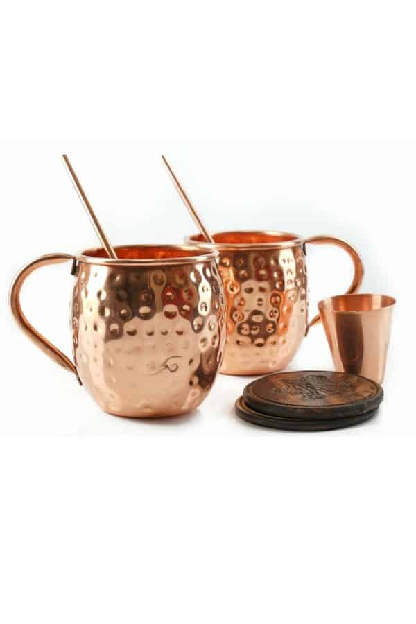 Solid Hammer Moscow Mule Copper Mugs And Straws By MoscowMugs | Seventh Anniversary Gifts - gift ideas for your 7th wedding anniversary