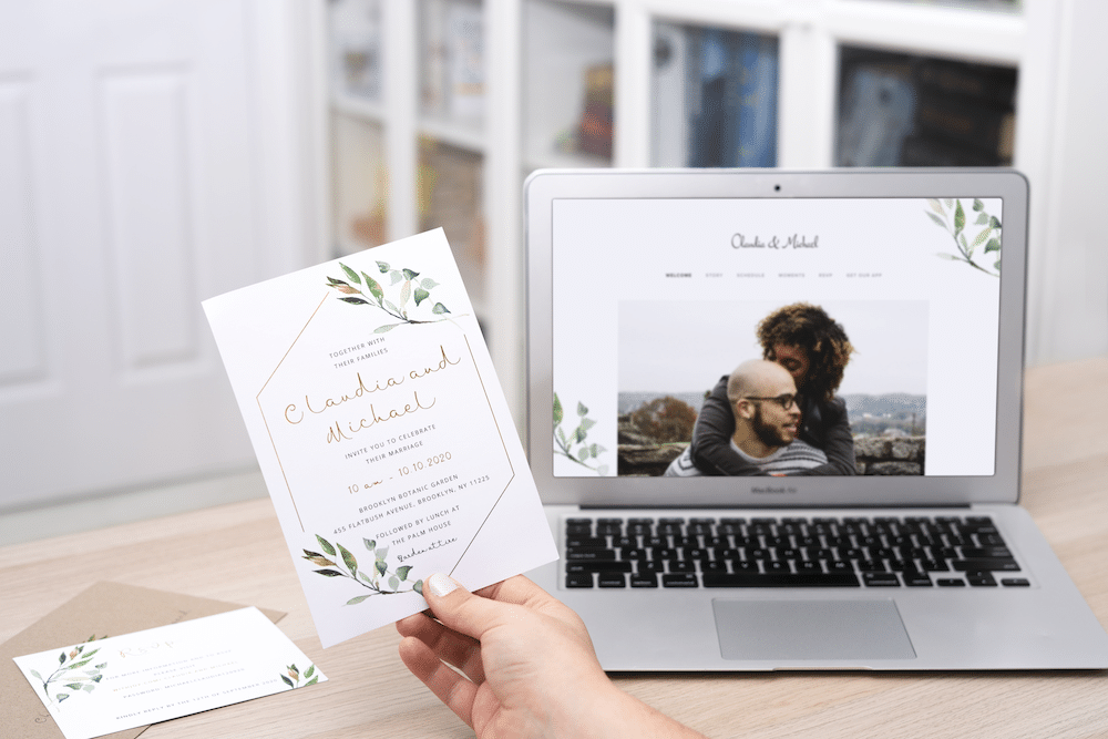 wedding website and matching stationery