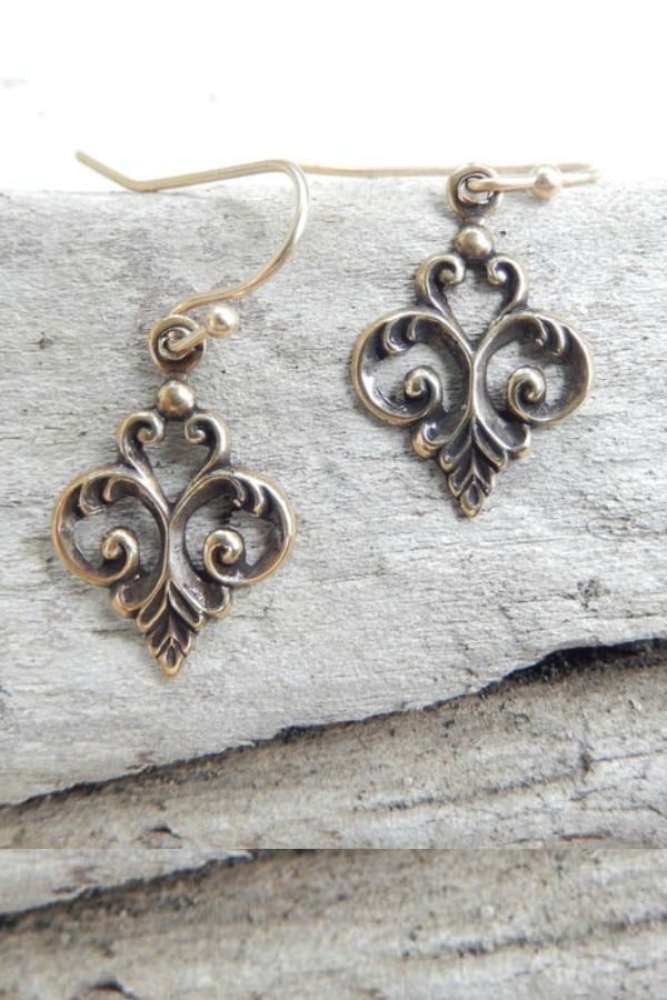 Antique Bronze Fleur Dis Lis Earrings - Antique Bronze Fleur Dis Lis Earrings 8th Wedding Anniversary Gift Ideas | Gifts for 8th Anniversary