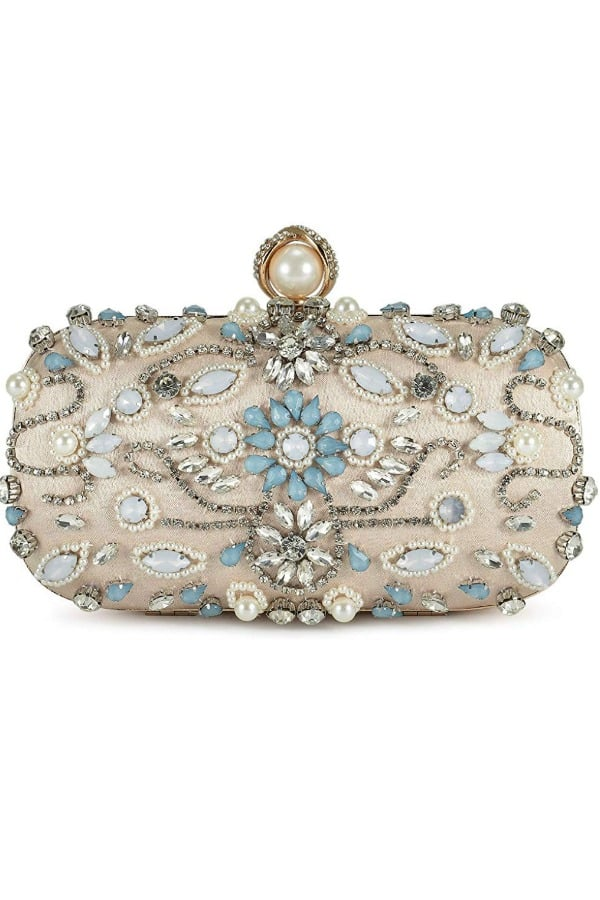 Blue And Champagne Crystal Beaded - Bridal handbags for your wedding day