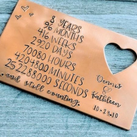 Bronze Wallet Card - 8th Wedding Anniversary Gift Ideas | Gifts for 8th Anniversary