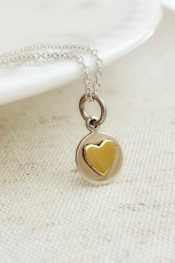 Dainty Bronze Heart Necklace - 8th Wedding Anniversary Gift Ideas | Gifts for 8th Anniversary