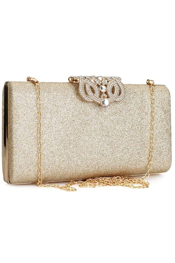 Leather Sparkling Evening Clutch - Bridal handbags for your wedding day
